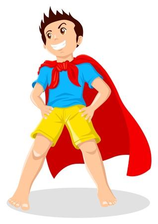 niños actuando: Cartoon ilustración de un niño jugando en un superhéroe