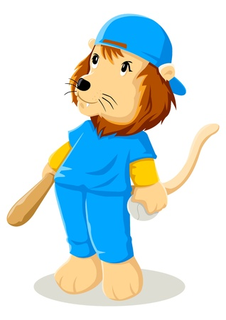 Cartoon illustration of a lion in baseball uniform  Vector