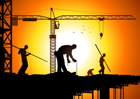 Silhouette illustration of construction workers  Vector