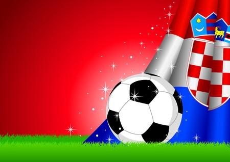 croatia flag:  illustration of a soccer ball with Croatia flag