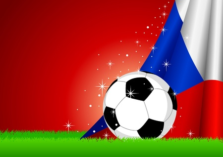 soccer fans: illustration of a soccer ball with Czech Republic flag