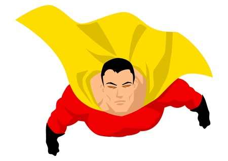 flying man: Superhero flying up pose Illustration
