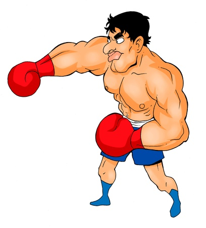 boxeador: Cartoon ilustración de un boxeador Foto de archivo