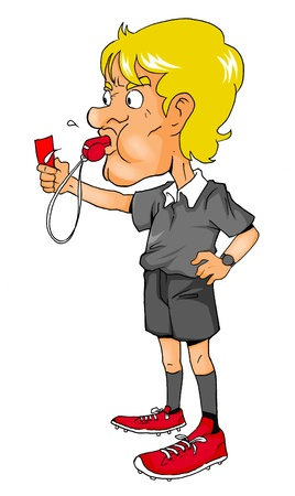 soccer referees hand with red card: Cartoon illustration of a soccer referee
