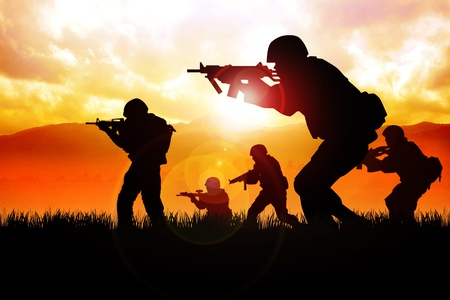 military helmet: Silhouette illustration of a group of soldiers on the field
