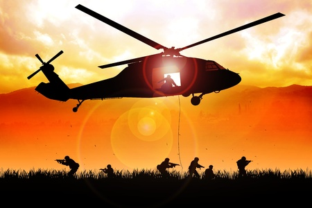 defense equipment: helicopter is dropping the troops