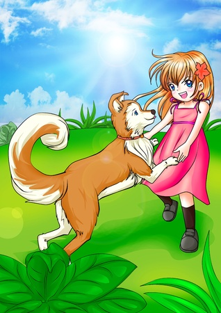 beautiful anime: Cartoon illustration of a girl playing with her dog