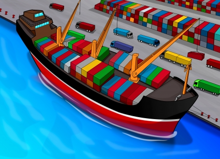 Cartoon illustration of a cargo ship illustration