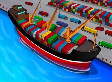 Cartoon illustration of a cargo ship Stock Illustration - 13462489