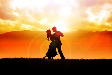 salsa dancing: A silhouette illustration of a couple dancing during sunrise  Stock Photo