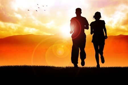 life partner: Silhouette illustration of couples jogging in the morning  Stock Photo
