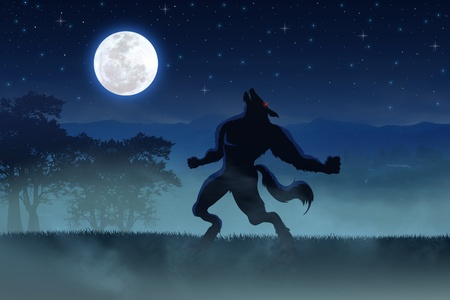 Illustration of a werewolf with the full moon as the background