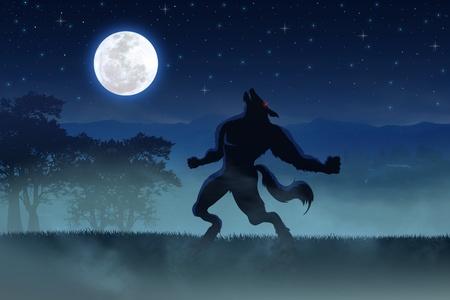 wilkołak: Ilustracja wilkoÅ'aka z peÅ'ni księżyca jako tÅ'o Zdjęcie Seryjne