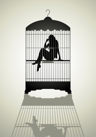 violencia familiar: Silueta ilustraci�n de una figura de la mujer en la jaula
