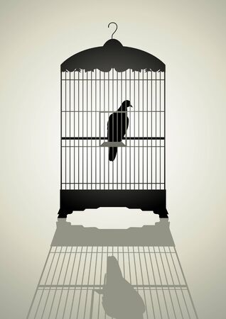 quarantine: Silhouette illustration of a bird in the cage