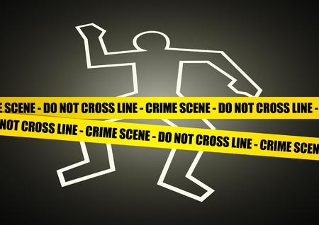 escena del crimen: Ilustración vectorial de una línea de la policía en la escena del crimen