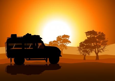 Vector illustratie van de sport utility voertuig SUV op off-road