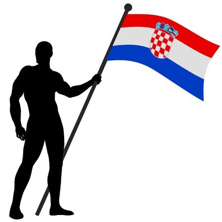 croatia flag: Illustration of a man figure holding the flag of Croatia  Illustration