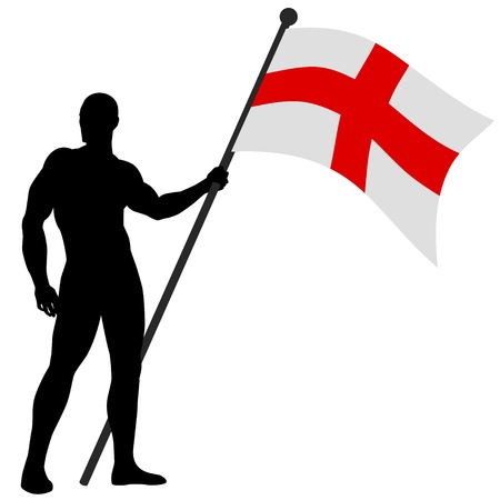 national hero: Illustration of a man figure holding the flag of England