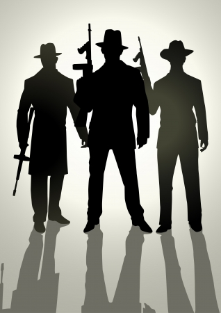 Silhouette illustration of gangsters  Stock Vector - 13755399
