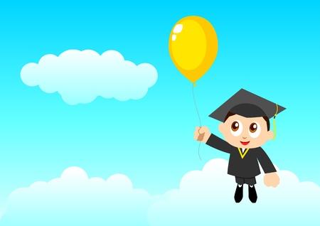 toga: Ilustración de dibujos animados de un niño que sostiene un globo en la toga de graduación flotando en el cielo Vectores