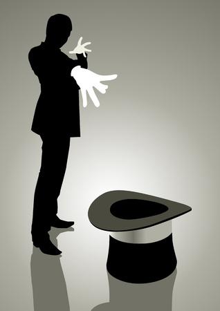 hat trick: Silhouette illustrazione di un mago