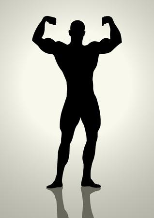 toughness: Illustrazione Silhouette di un bodybuilder