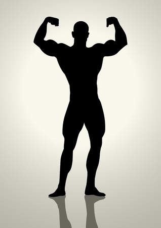 body silhouette: Silhouette illustration of a bodybuilder
