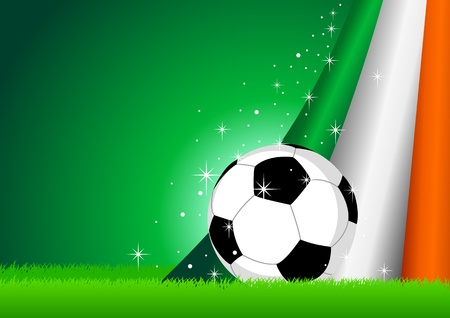 irish banners: Vector illustration of a soccer ball with Ireland insignia