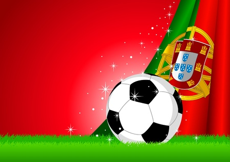 Vector illustration of a soccer ball with Portugal insignia  Vector