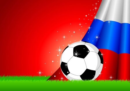 contestant: Vector illustration of a soccer ball with Russia insignia