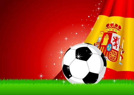 world cup: Vector illustration of a soccer ball with Spain insignia