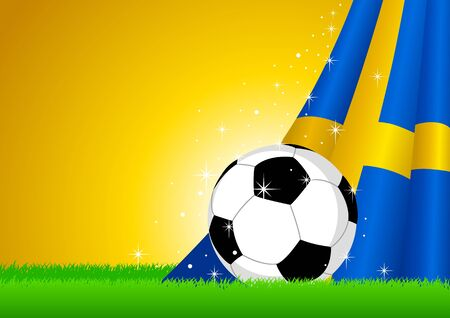 Vector illustration of a soccer ball with Sweden insignia  Vector