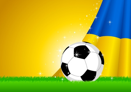 ukrainian: Vector illustration of a soccer ball with Ukraine insignia  Illustration