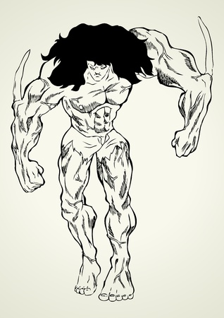 strong men: Sketch illustration of a mutant