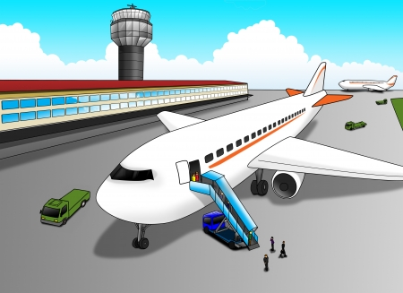 view from the plane: Cartoon illustration of an airport