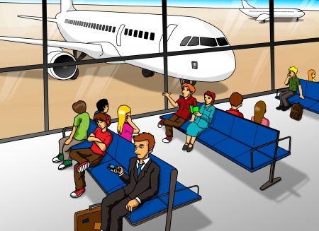 lounge room: Cartoon illustration of people waiting at airport lounge