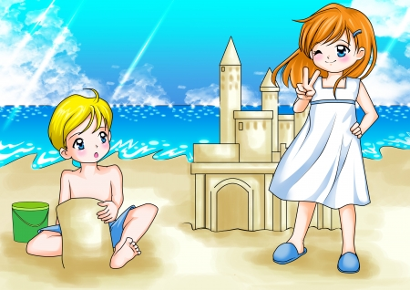 beautiful anime: Cartoon illustration of two kids playing at the beach