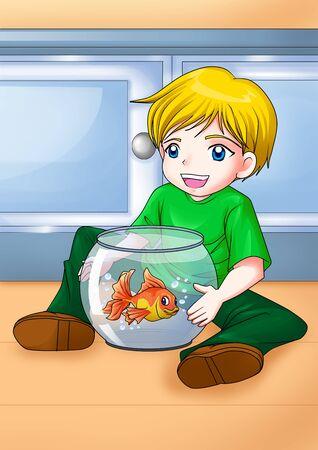 Illustration de dessin animé d'un petit garçon avec son poisson rouge
