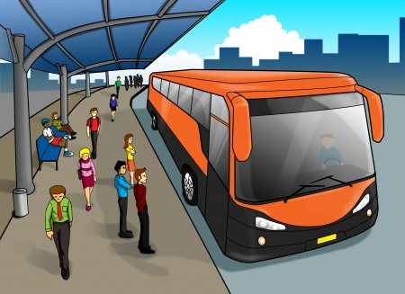 busy life: Cartoon illustration of a bus stop