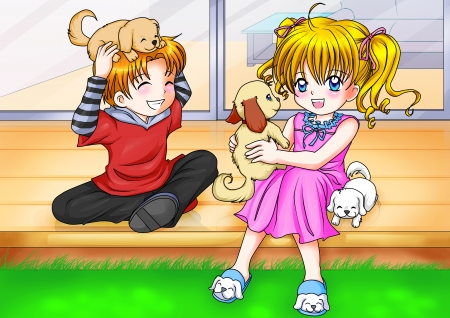 manga style: Cartoon illustration of a boy and a girl playing with three little puppies