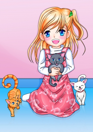 Cartoon illustration of a girl with three kittens  illustration