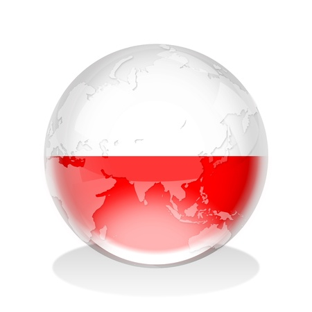 poland flag: Illustration of a glass sphere with Poland flag and world map in it