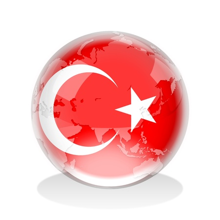 turkish flag: Crystal sphere of Turkey flag with world map