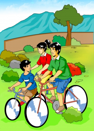 Cartoon illustration of a family cycling in the park  illustration