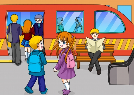 subway station: Cartoon illustration of two kids at the subway station