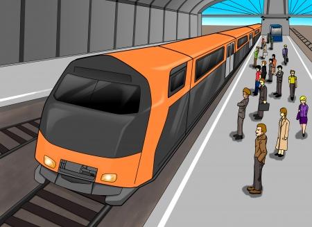 tren caricatura: Ilustración de dibujos animados de personas esperando en la estación de tren