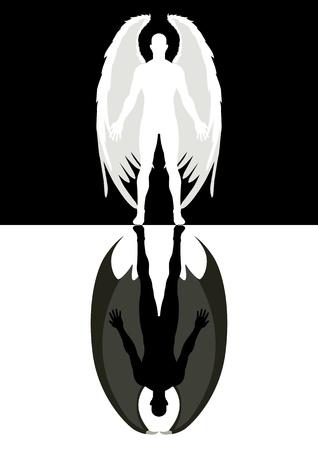 teufel und engel: Symbolische Darstellung von einem Engel und dem Teufel Illustration