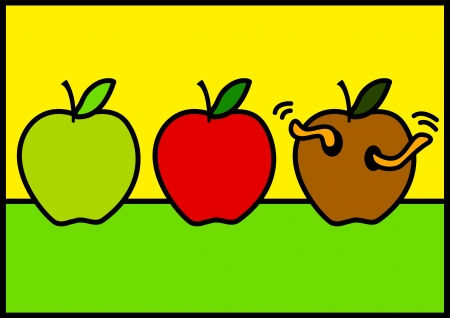 rotten fruit: Line art illustration of three apples with different stages of ripeness Illustration