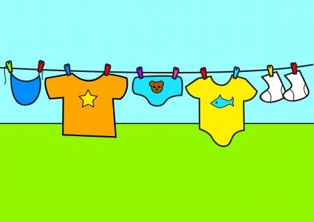 Cartoon illustration of baby clothes  Illustration